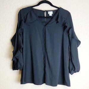 Stylus Black Blouse Long Blouson Sleeve Size M